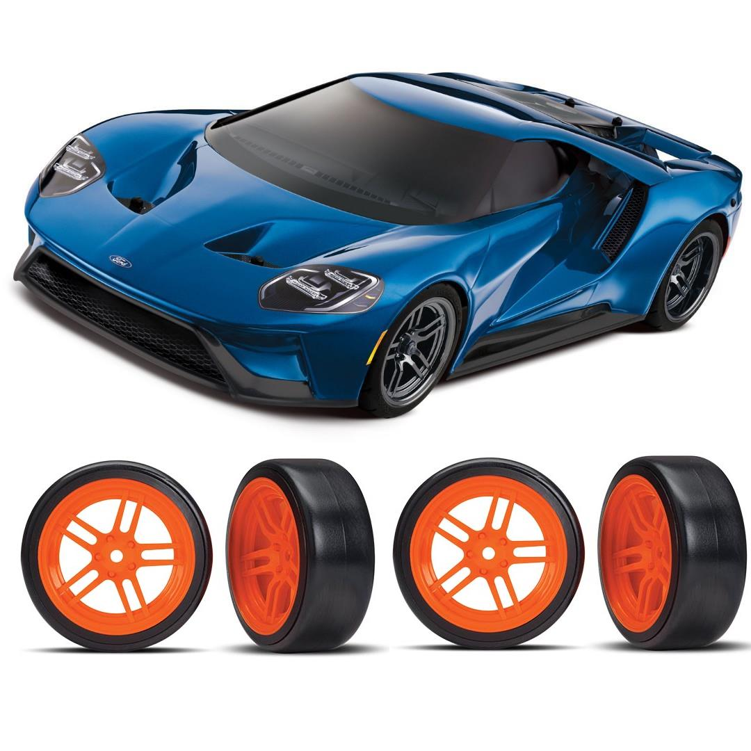 Traxxas Ford GT 1/10 Scale Blue Supercar Orange Drift Bundle