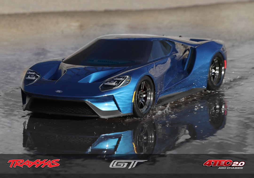 Traxxas Ford GT 1/10 Scale AWD Blue Supercar - Click Image to Close