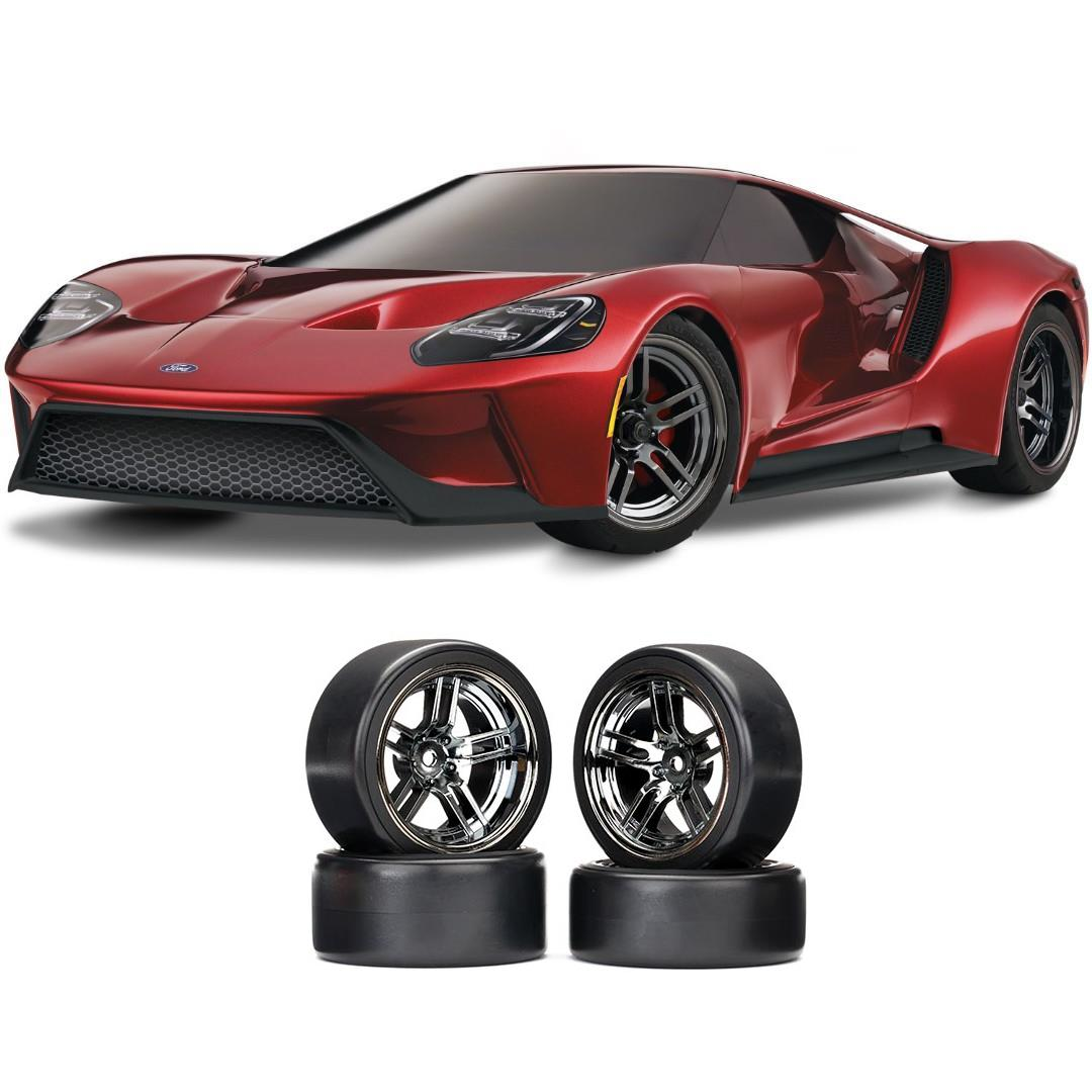 Traxxas Ford GT 1/10 Scale Red Supercar Chrome Drift Bundle