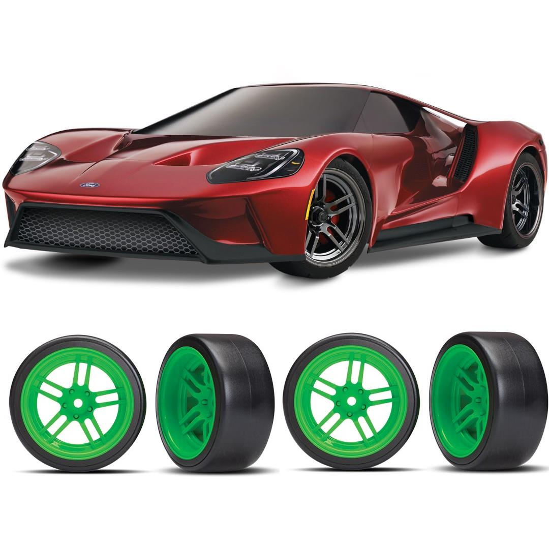 Traxxas Ford GT 1/10 Scale Red Supercar Green Drift Bundle