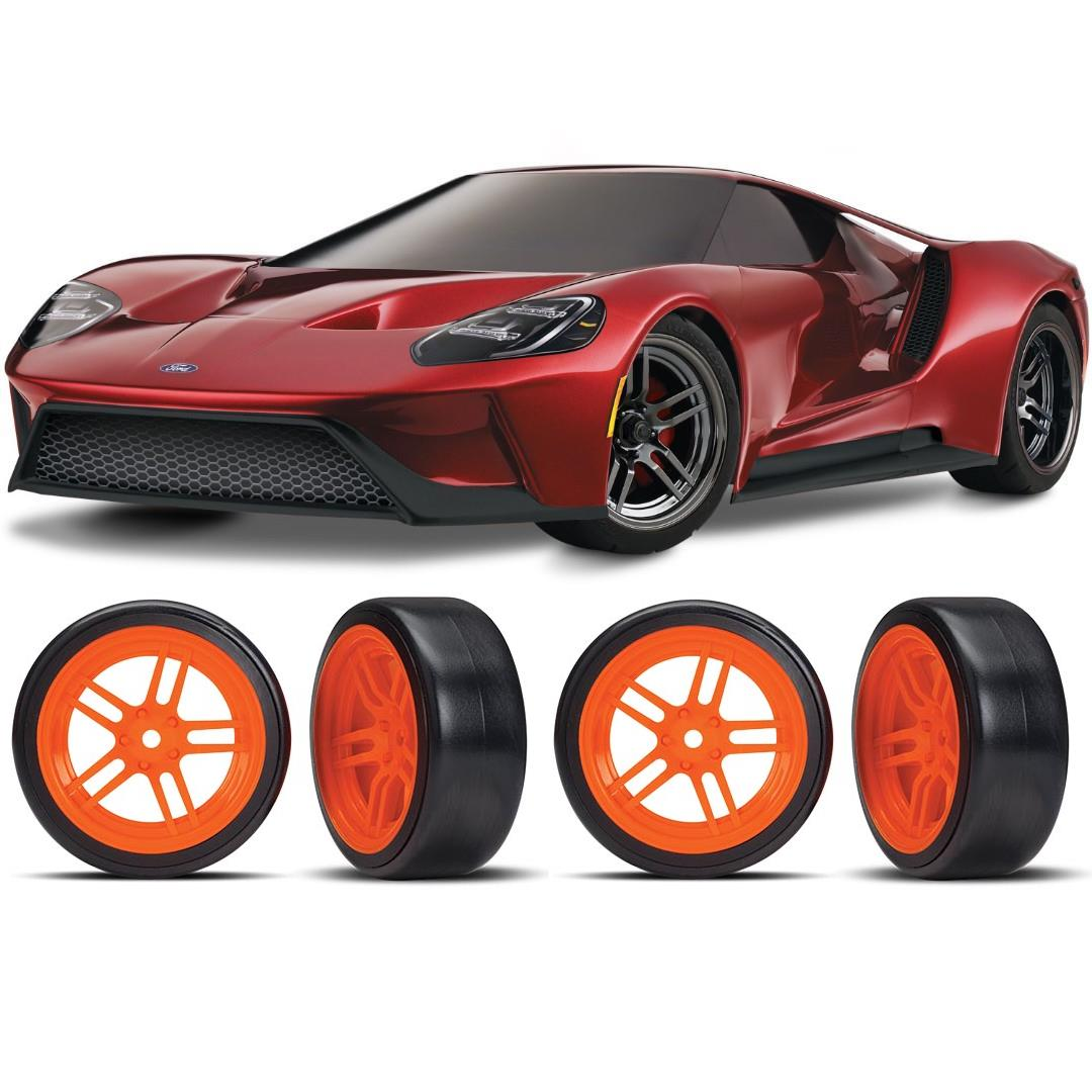 Traxxas Ford GT 1/10 Scale Red Supercar Orange Drift Bundle