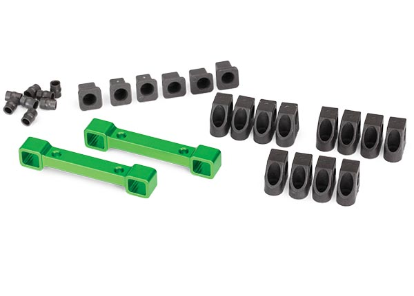 Mounts, suspension arms, aluminum (green-anodized) (front & rear