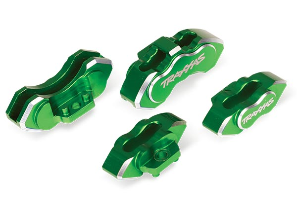 Traxxas Brake calipers, 6061-T6 aluminum (green-anodized), front