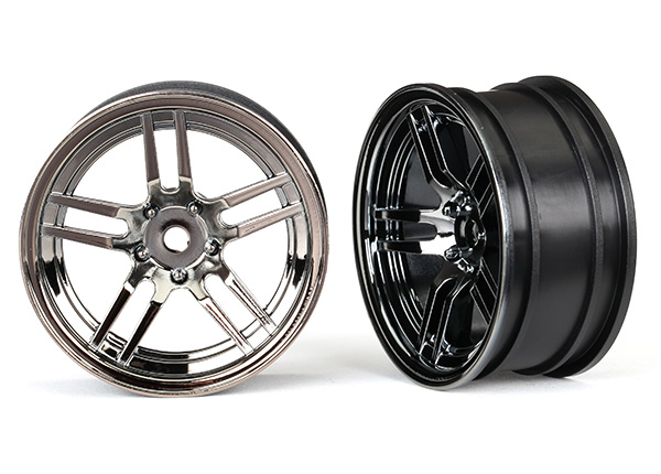 Traxxas Wheels, 1.9' split-spoke (black chrome) (front) (2)
