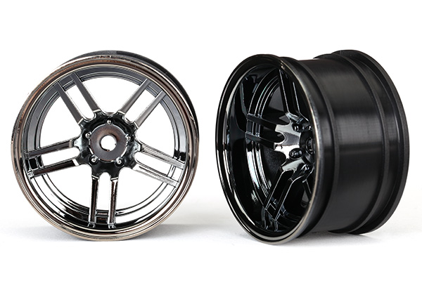 Traxxas Wheels, 1.9' split-spoke (black chrome) (wide, rear) (2)