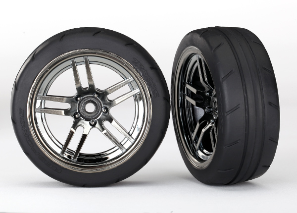 Traxxas Tires and wheels, glued chrome, 1.9' Response tires (F)