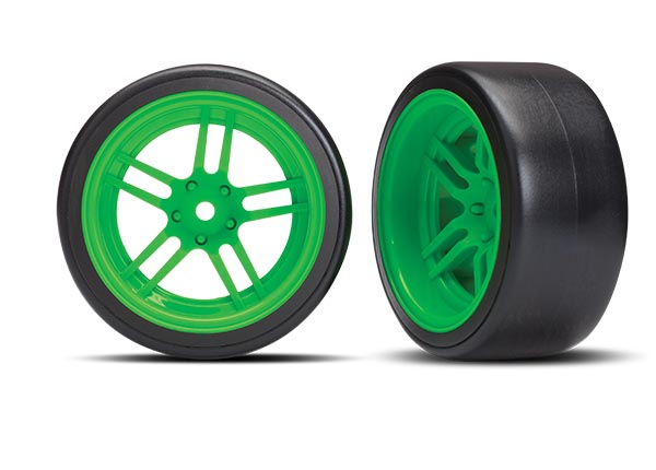 Traxxas Tires and wheels, assembled, glued (split-spoke green wh