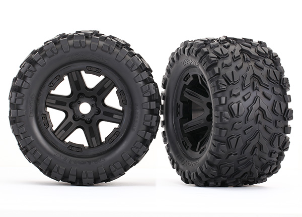 Traxxas Tires & wheels, assembled, glued (black Carbide wheels,