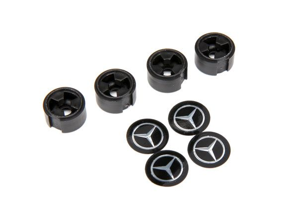 Traxxas Center caps, Mercedes-Benz G 500 wheel (black) (4) (requ