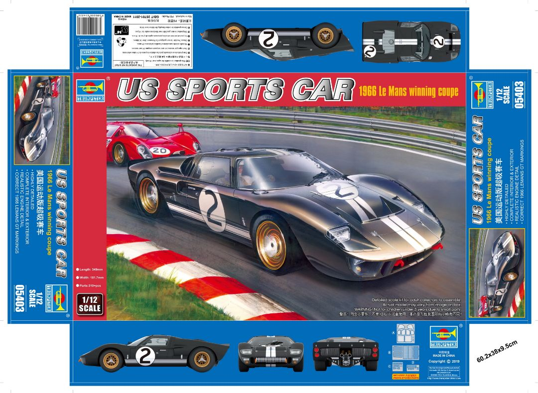 Trumpeter 1/12 US Sports Car 1966 Le Mans winning coupe