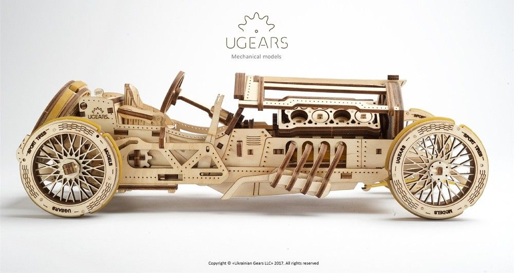 UGears U-9 Grand Prix Car - 348 pieces (Advanced) - Click Image to Close