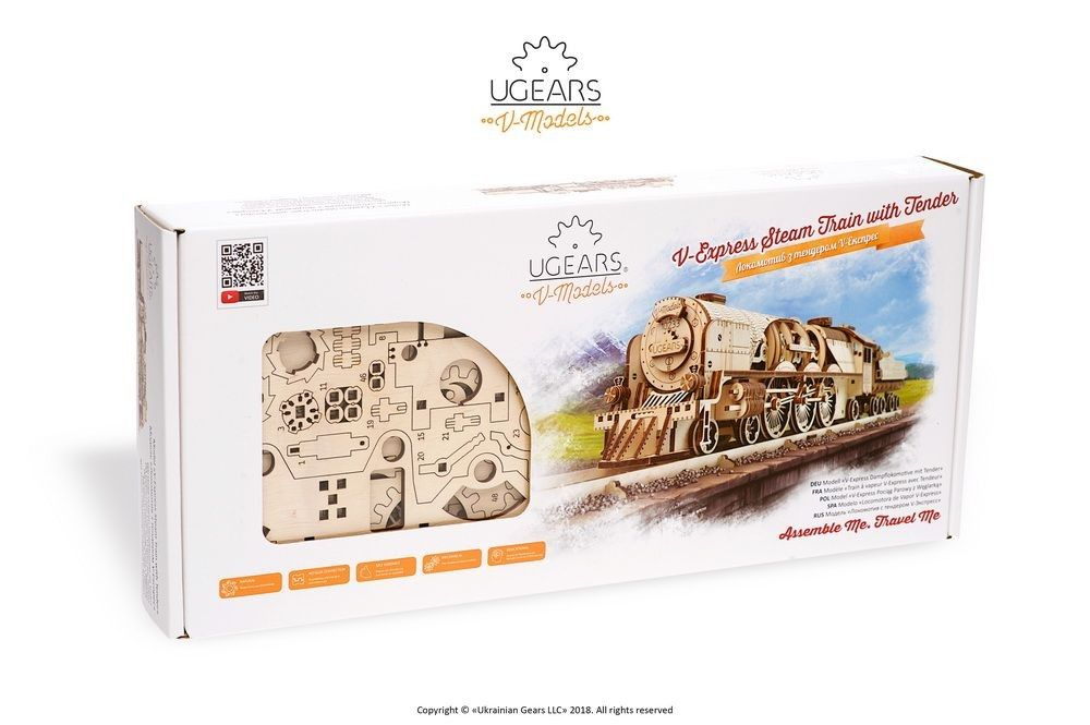 UGears V-Express Steam Train with Tender - 538 pieces (Advanced - Click Image to Close