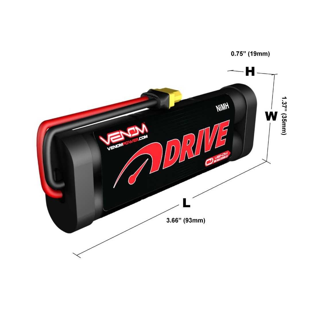 Venom 7.2v 1600mAh 6-Cell NiMH Battery with Universal Plug