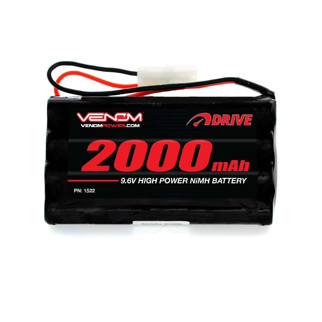 Venom 9.6V 2000mAh 8-Cell NiMH Battery for 9.6V Toy RC Cars